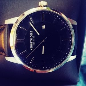 Mens Kenneth Cole Black Leather Watch